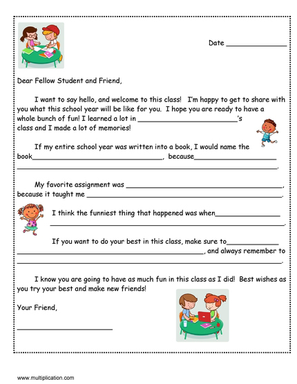 A Friendly Letter to Next Year\u0027s Student with Free template - assignment letter