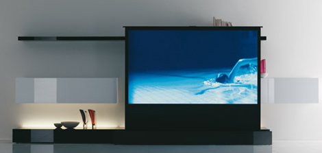 Meuble design pour la tv et la vid oprojection chez acerbis for Channel 4 living room ideas