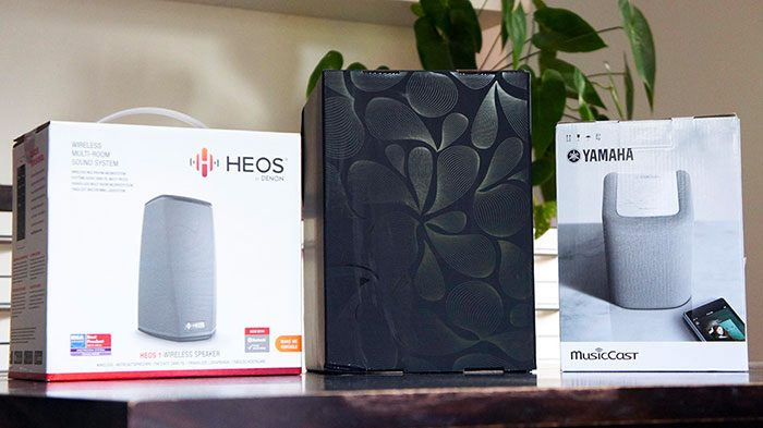 comparatif heos sonos musiccast packaging