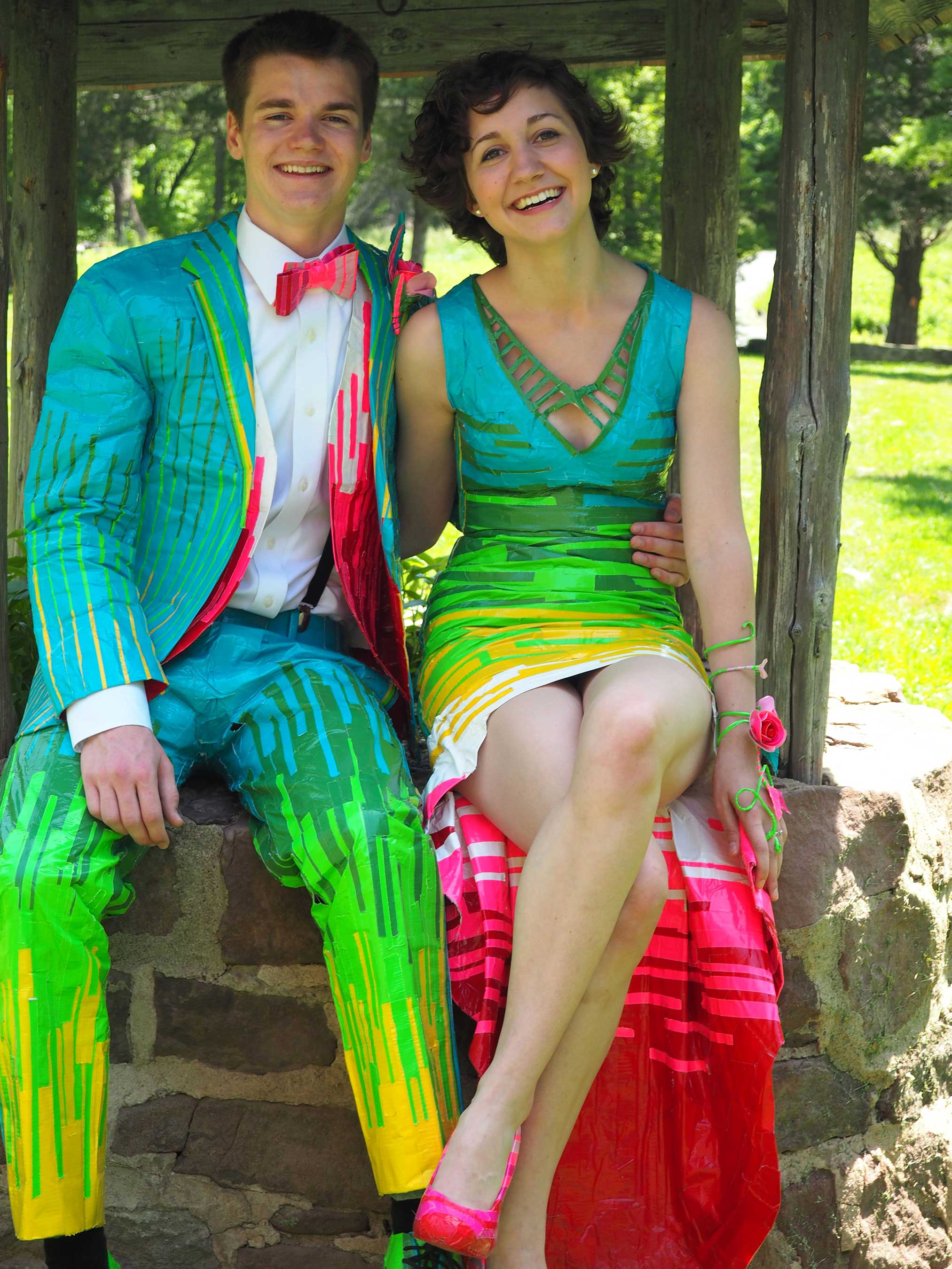 High Tuxedos Duct Tape Prom Dress Winners 2014 2015 Duck Brand Stuck At Prom Scholarship Contest Prize Miaand Chandler Scholarship Winners Revealed Annual Brand Stuck At Duct Tape Prom Dresses wedding dress Duct Tape Prom Dress