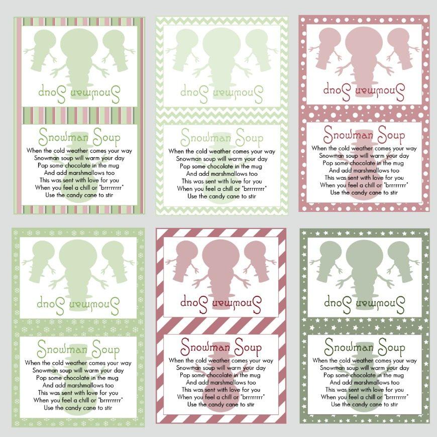 image regarding Snowman Soup Free Printable Bag Toppers titled Snowman Printable Labels