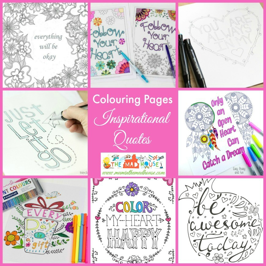 Inspirational Quotes Colouring Pages for Adults and Kids - Mum In