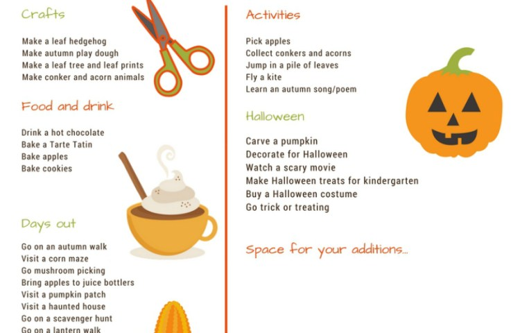 Our autumn bucket list 2016 with printable