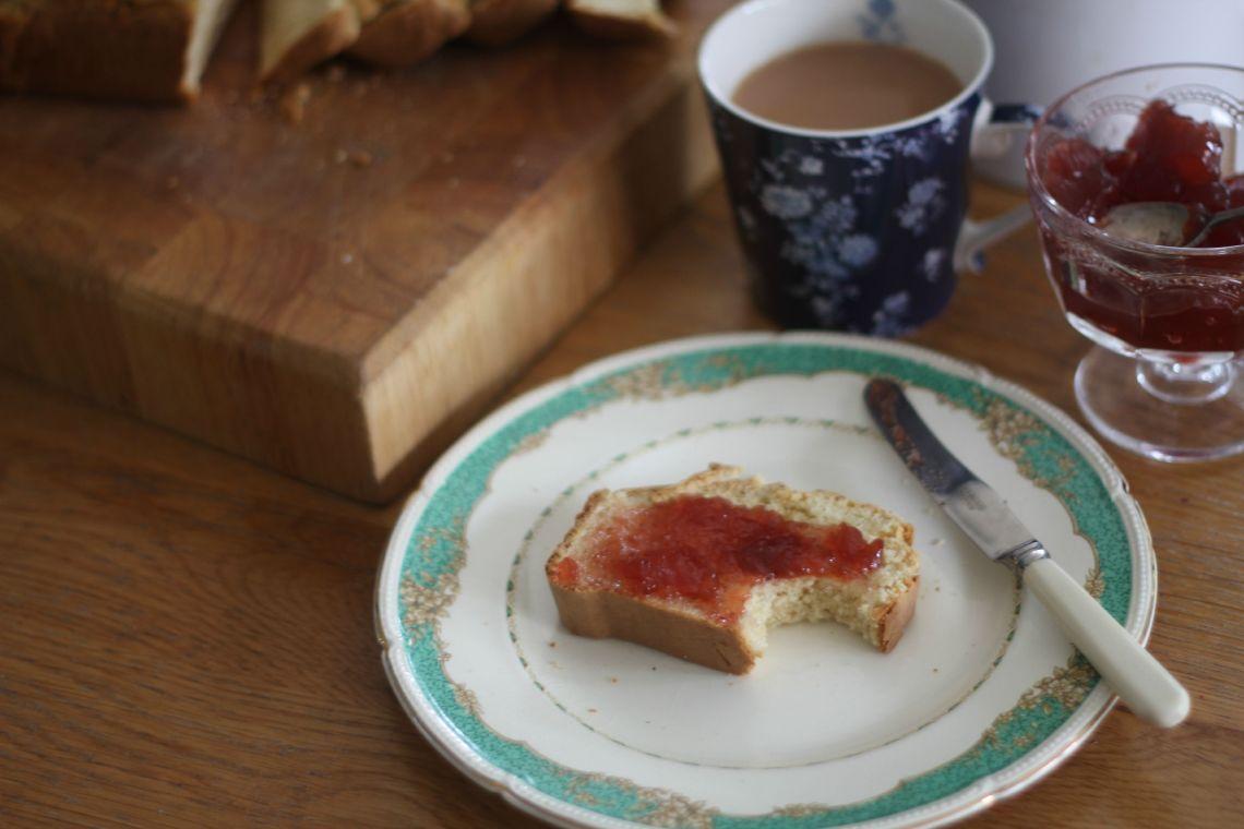 ice cream bread jam on plate