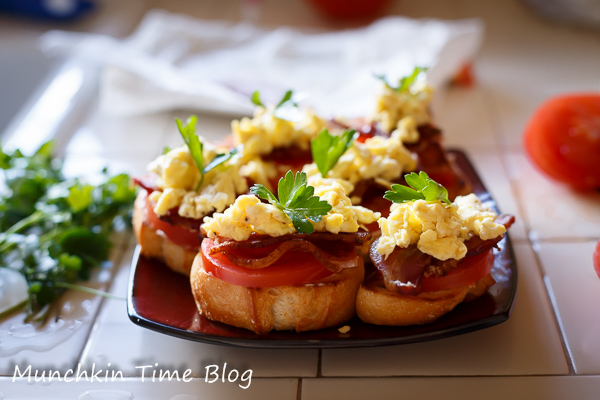 Tomato Bacon Egg Open Faced Sandwich Recipe #SandwichRecipe http://www ...