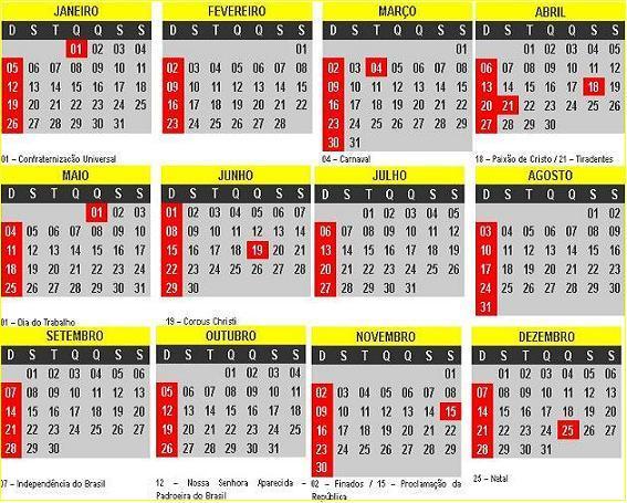 Calendário 2014 com Feriados Nacionais Para Imprimir