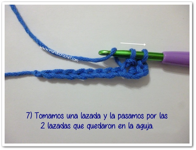 Punto medio vareta inclinado o herringbone half double crochet7