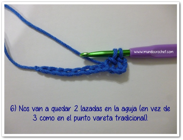 Punto vareta inclinado o herringbone double crochet6