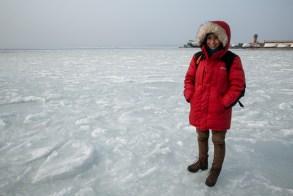 Caminhando sobre o mar congelado