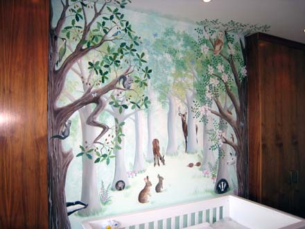 Baby Girl Nursery Wallpaper Uk Woodland Mural Painted In A Nursery