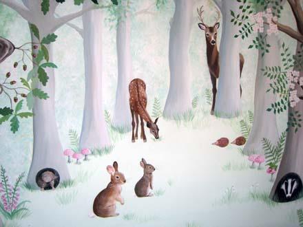 Girl Nursery Wallpaper Uk Woodland Mural Painted In A Nursery