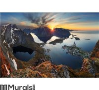 Nature panorama mountain landscape at sunset, Norway. Wall ...