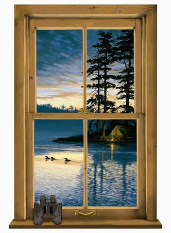 3d Washable Wallpaper Log Cabin Window Mural Wg0445m
