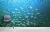 Yellow Fish School Wall Mural | MuralsWallpaper.co.uk