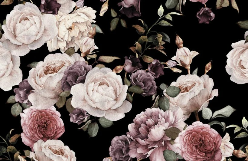 Quote Wallpaper Hd Phone Purple And Pink Dark Floral Wallpaper Mural Muralswallpaper