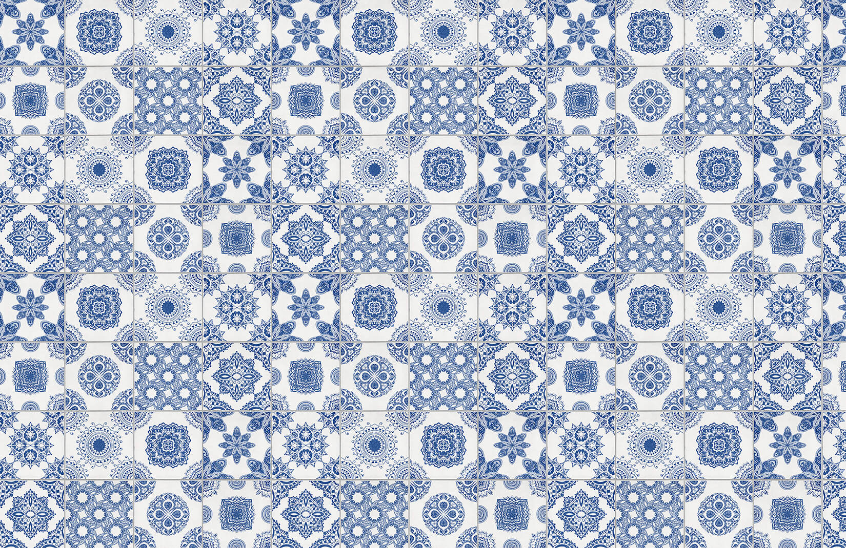 3d Wallpaper Murals India Blue And White Tile Wallpaper Muralswallpaper
