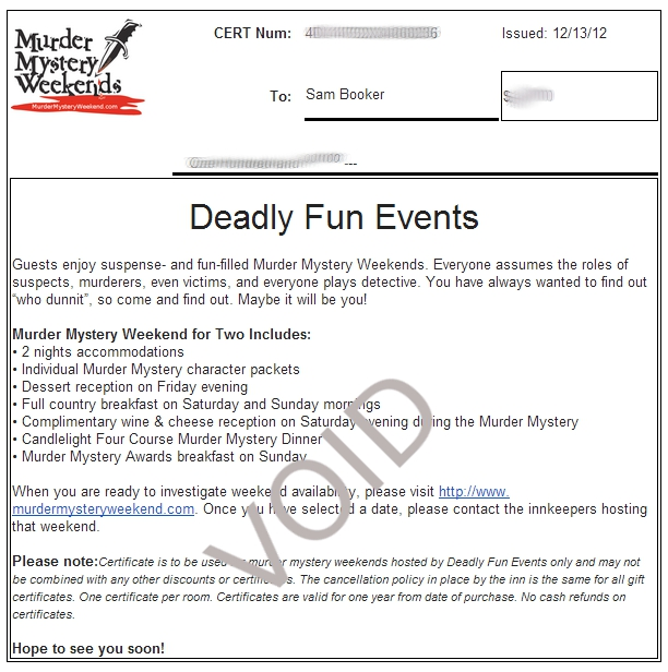 Gift Certificates The Murder Mystery Weekend Times