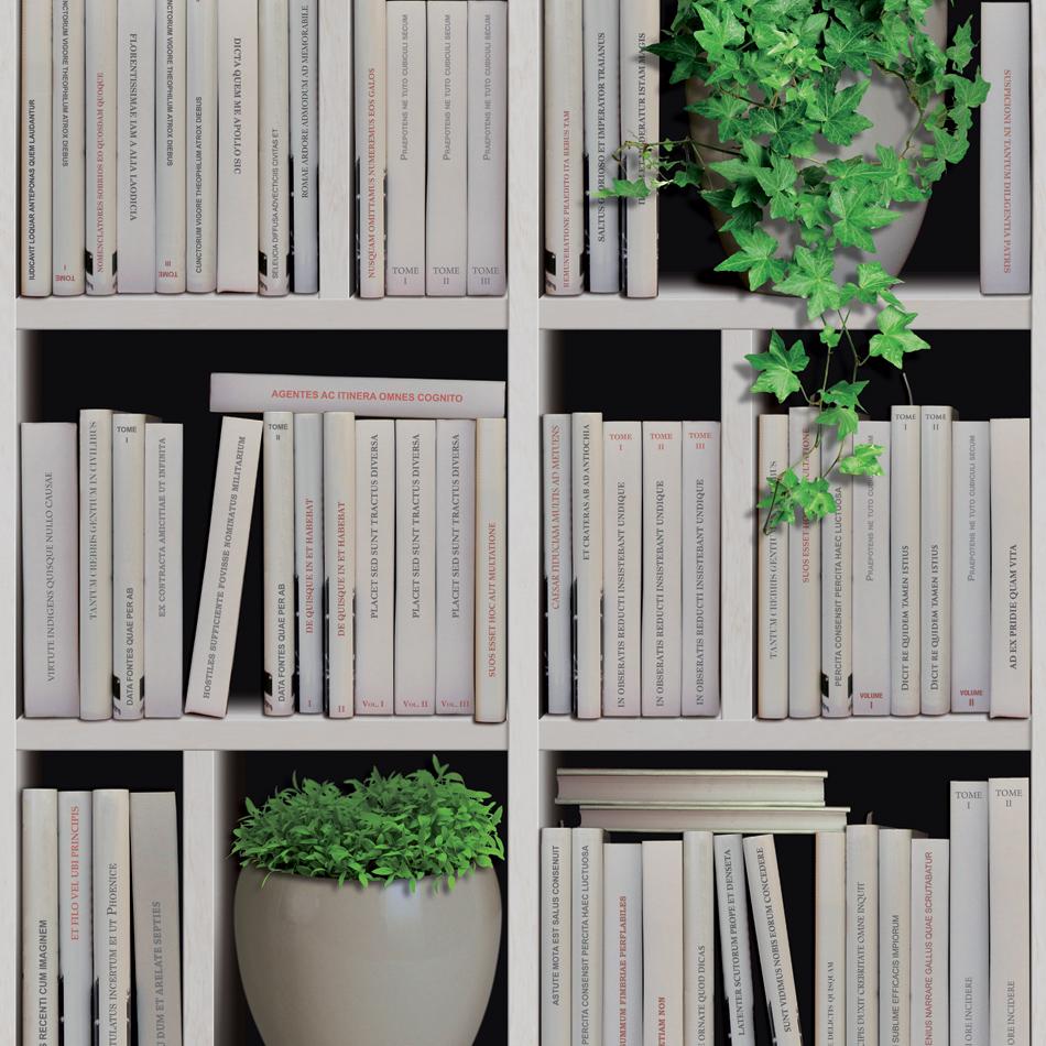 Mural Wallpaper Bookcase Natural Murivamuriva