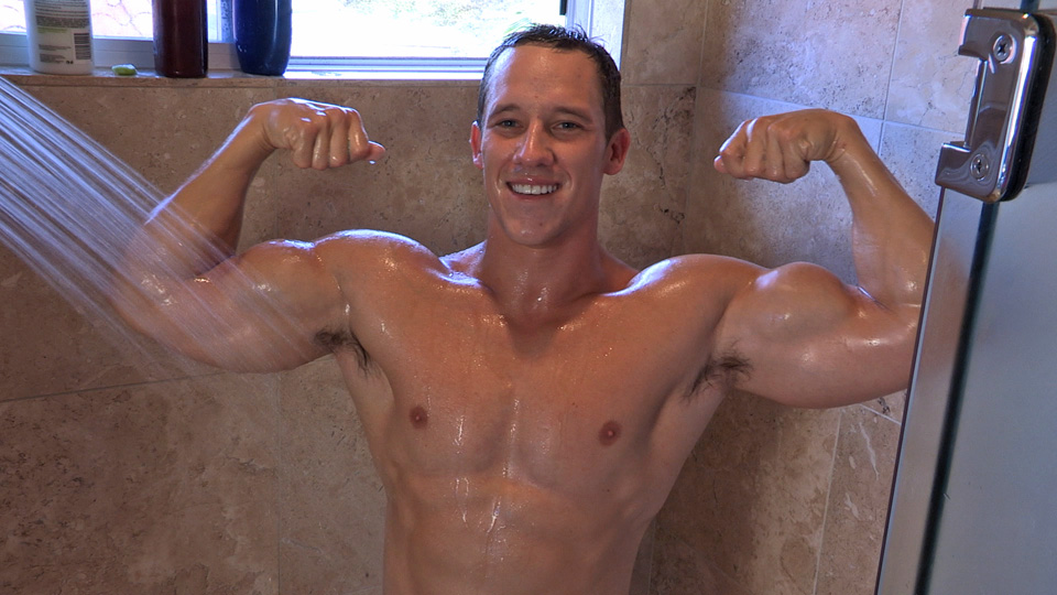 Muscled Guy In Shower
