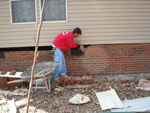 Our brick masons and concrete workers are skilled in all types of concrete work including driveways, sidewalks, pads, curving, brick underpinning, and block work