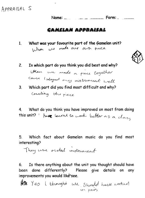 Appendix 9 Pupil Appraisal Sheet 5
