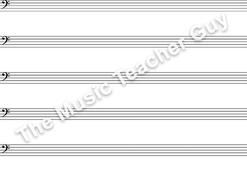 Blank Bass Clef Staff Paper - Musical Intervals