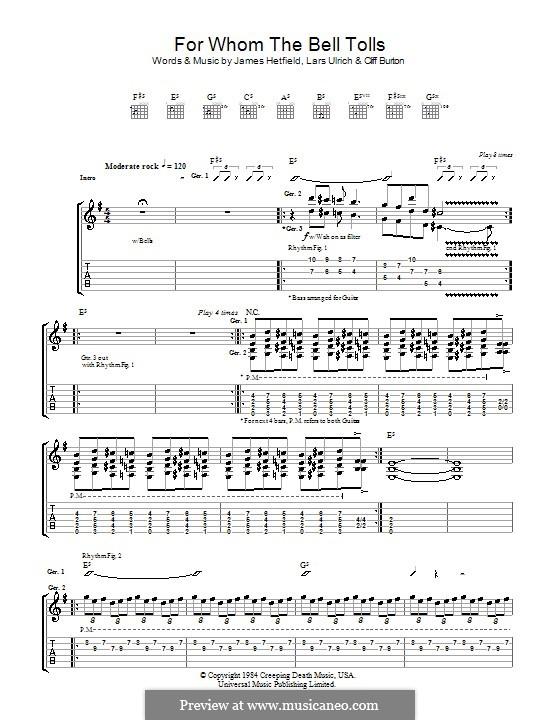 For Whom the Bell Tolls (Metallica) by C Burton, J Hetfield, L