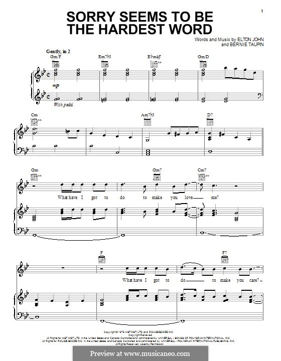 Sorry Seems to be the Hardest Word by E John - sheet music on MusicaNeo