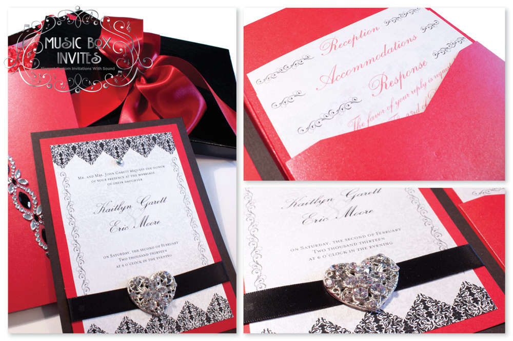 Red White and Black Brocade Romance Musical Wedding Invitation and