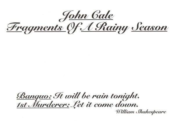 John Cale - Fragments of a Rainy Season - music album