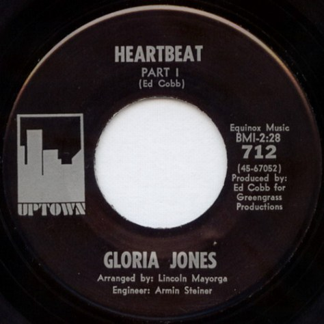 Gloria Jones - Heartbeat Part 1 (Uptown 7inch label scan)