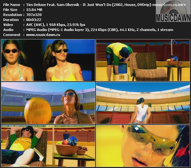 Tim Deluxe Feat. Sam Obernik - It Just Won't Do (2002, DVDrip)