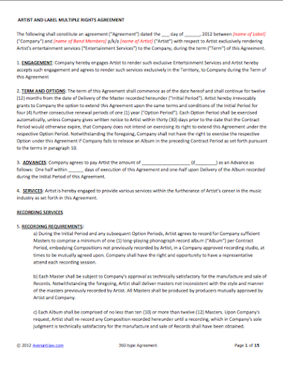 Music Recording Contract Template. landing musician for hire gigs ...