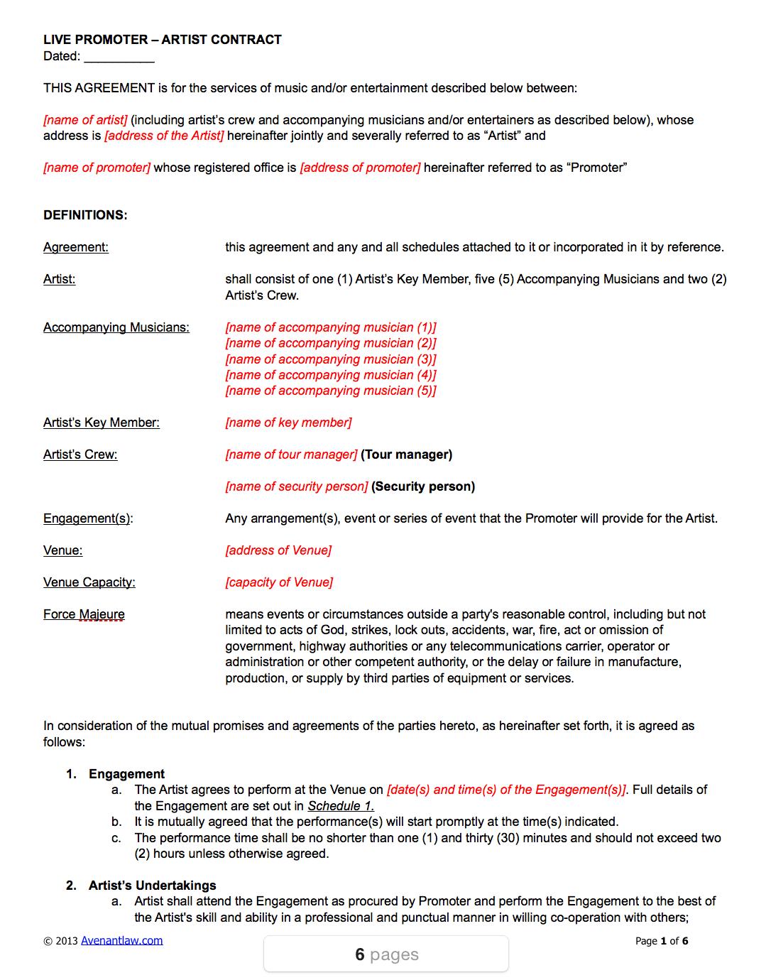 event management agreement