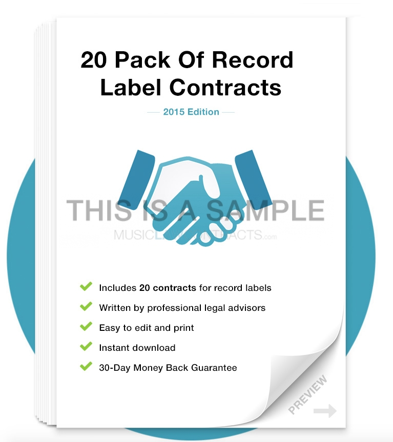 Record Label Contract Pack MusicLawContracts - Booking Agent Contract Template