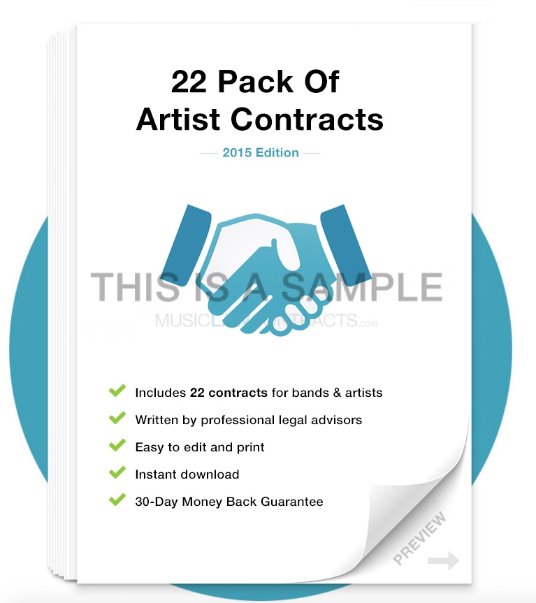 Artist / Band Contract Template Pack MusicLawContracts - sample artist contract template
