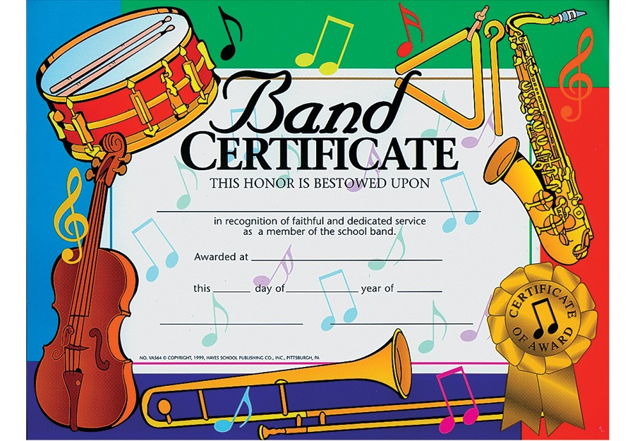 Music in Motion BAND CERTIFICATE