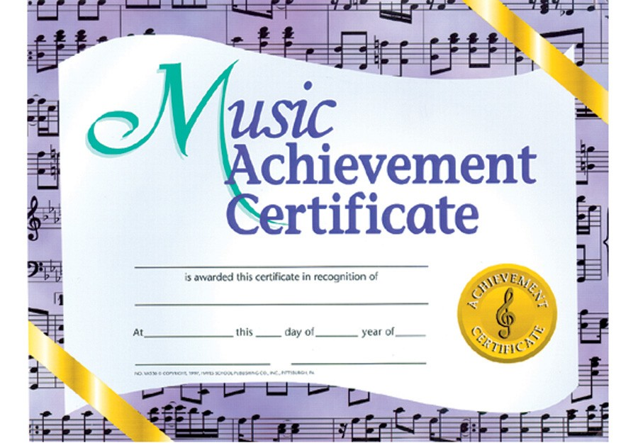 Music in Motion MUSIC ACHIEVEMENT CERTIFICATE