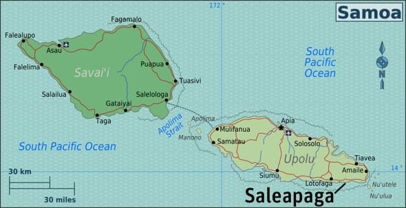 Samoa map Saleapaga