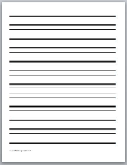 Doc600730 Printable Staff Paper Template Printable Staff – Music Paper Template
