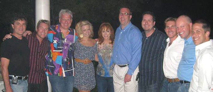 Reba welcomed Clear Channel national programmers and national voice-trackers to her Nashville home Monday evening following a day filled with interviews that will air on Clear Channel stations nationwide. Pictured above (l-r): Valory's Scott Borchetta, Joe Boxer, Michael J. Foxx, Valory's JoJamie Hahr, Reba, Doug Montgomery, Billy Greenwood, Valory's John Zarling, Clay Hunnicutt and Valory's Jon Loba.