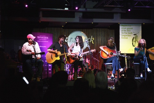 Pictured (L-R): Trent Willmon, Striking Matches, Ashley Monroe, Kristen Kelly and John Shaw at the Hard Rock Cafe.