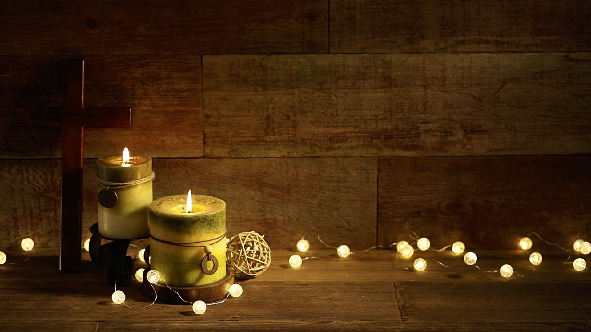 1920x1080 Fall Urban Wallpaper Candles And Cross With Christmas Lights On Wood Background