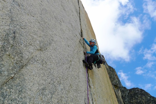 Hazel Climbing the first tricky pitch of 'Ave Caesar'. Photo- Calum Muskett