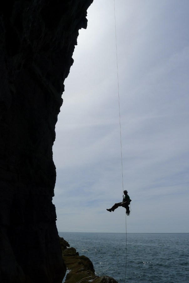 Abseiling in to Patish on the Lleyn Peninsula. Photo- Dan Mcmanus
