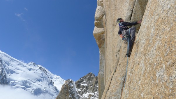 Stu MaCleese climbing the Rebuffat Route on the South face of the Aiguille du Midi. Photo- Calum Muskett