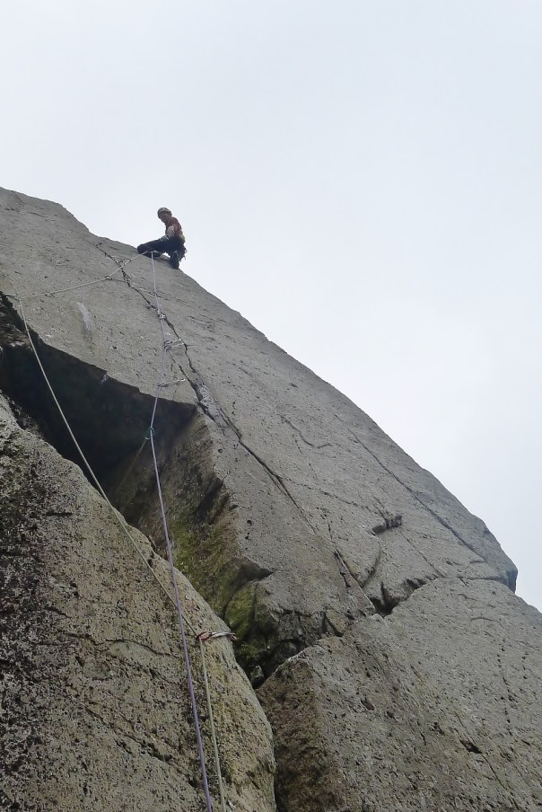 George Ullrich leading the brilliant 'Glyder Crack', E6 6b, between hail showers. Photo- Calum Muskett