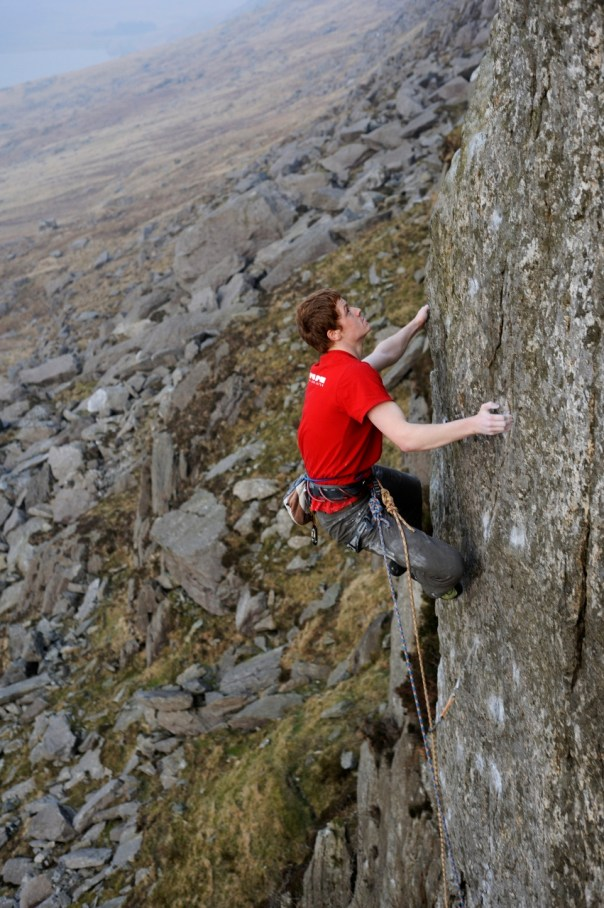 The finishing moves of the upper arete. Photo- Ray Wood