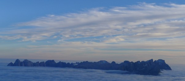 The Sella group in a spectacular cloud inversion. Photo- Calum Muskett