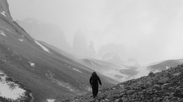 Twid walking down the Bader valley in Patagonia. Photo- Calum Muskett